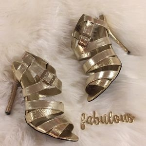 Shoedazzle Dottie gold strappy heels
